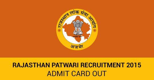 Rajasthan Patwari Recruitment 2015 Admit Cards Out